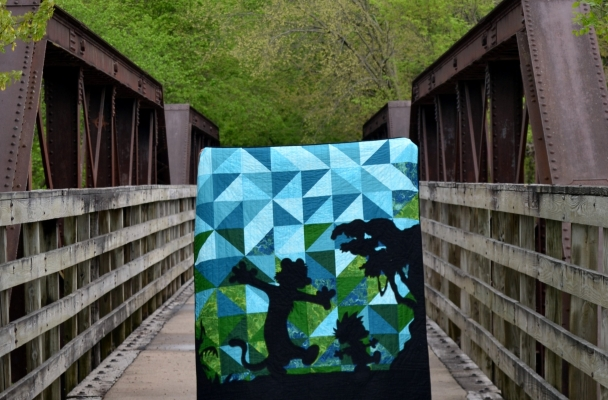 silhouette quilt, quilt along, Calvin and Hobbes, HST Layout, Big Block Quilt