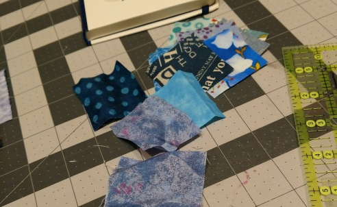 scrappy blue fabrics for city layout